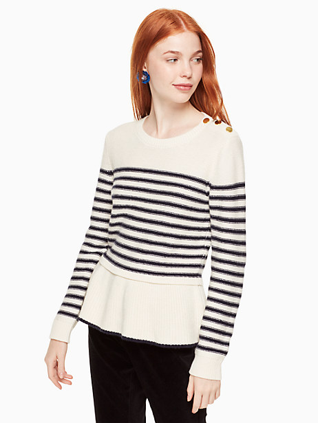Kate Spade Stripe Peplum Sweater, Cream/Rich Navy - Size L