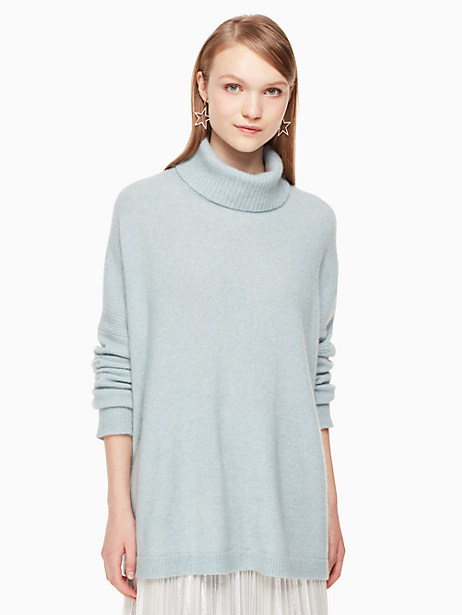 Kate Spade Wool Turtleneck Sweater, Icy Sky Mélange - Size L