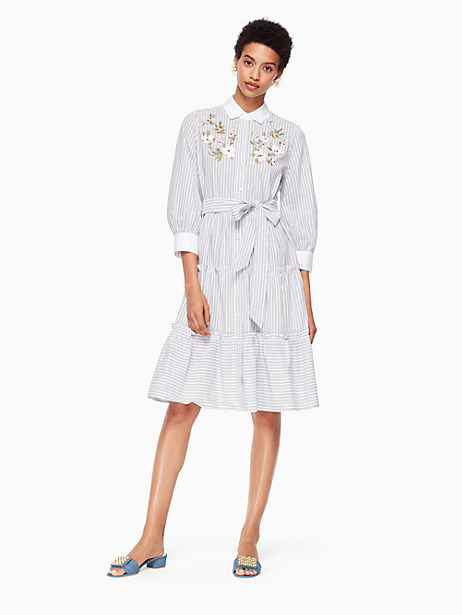 Kate Spade Embroidered Puff Sleeve Dress, Fresh White/Black - Size L