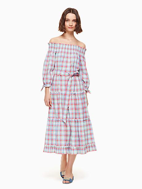 Kate Spade Madras Off Shoulder Dress, Size L