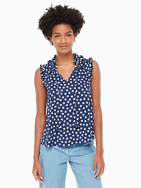 Kate Spade Cloud Dot Tie Front Shell, French Navy/Fresh White - Size L