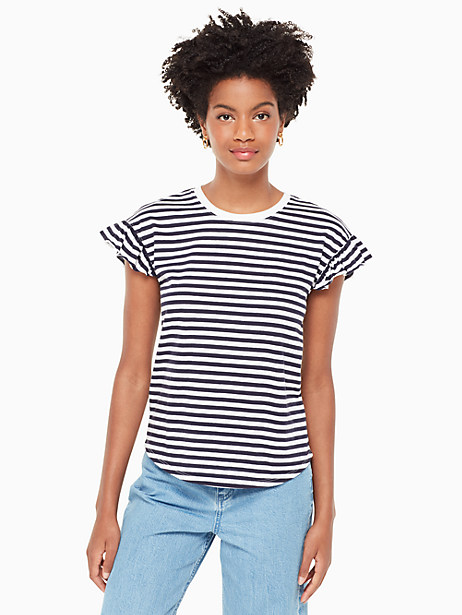 Kate Spade Stripe Ruffle Tee, Rich Navy/Fresh White - Size L