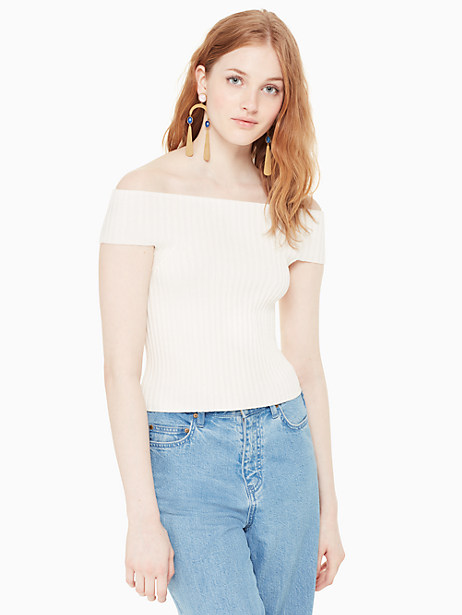 Kate Spade Off The Shoulder Sweater, Cream - Size L