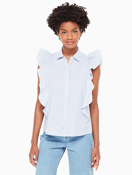 Kate Spade Flutter Button Down Stripe Top, Manatee/Fresh White - Size L