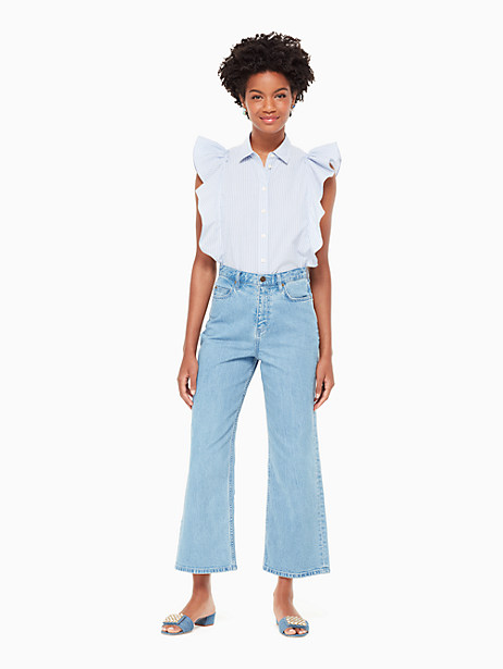 flutter button down stripe top by kate spade new york