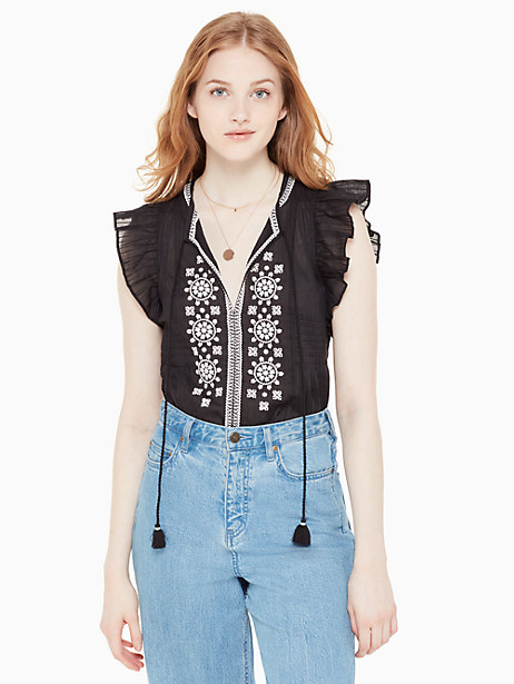 Kate Spade Mosaic Embroidered Tassel Top, Black - Size L