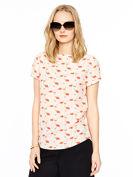 Kate Spade Flamingo Boatneck Top, Shell - Size 00