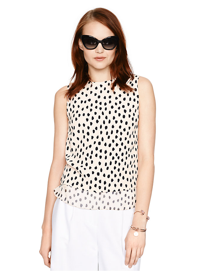 leopard dot layered tank, shell