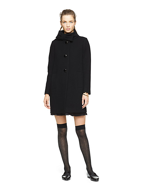 Kate Spade Bow Neck Wool Coat, Black - Size 0