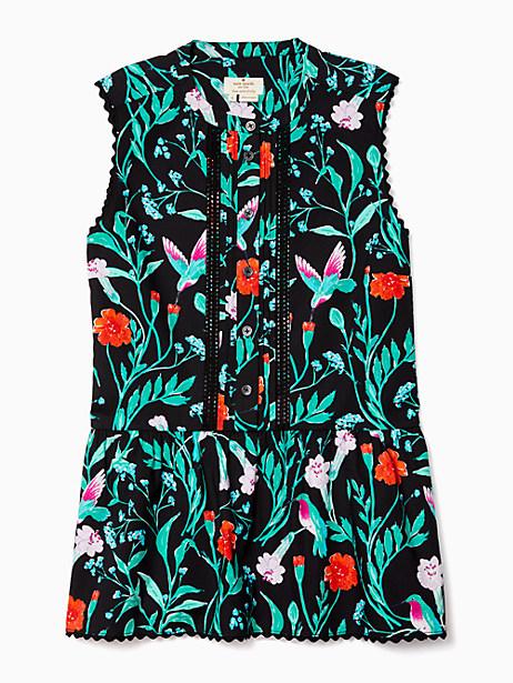 Kate Spade Jardin Poplin Peplum Top, Black - Size L