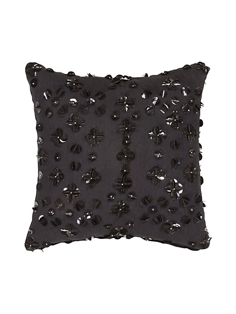 Kate Spade Beaded Floral Pillow, Black
