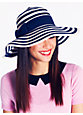 stripe sun hat, navy/clotted cream