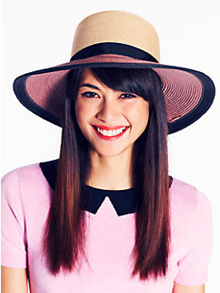 color block straw sunhat