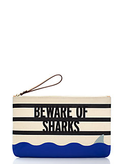 splash out beware of sharks bikini pouch by kate spade new york