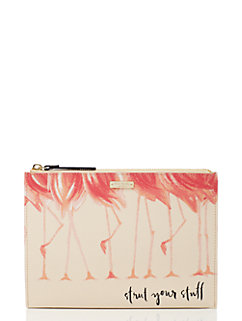 strut your stuff flamingo medium bella pouch by kate spade new york