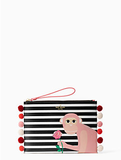 rambling roses monkey medium bella pouch by kate spade new york