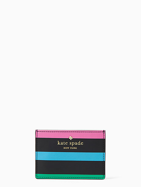 Kate Spade Harding Street Fiesta Stripe Card Holder, Black