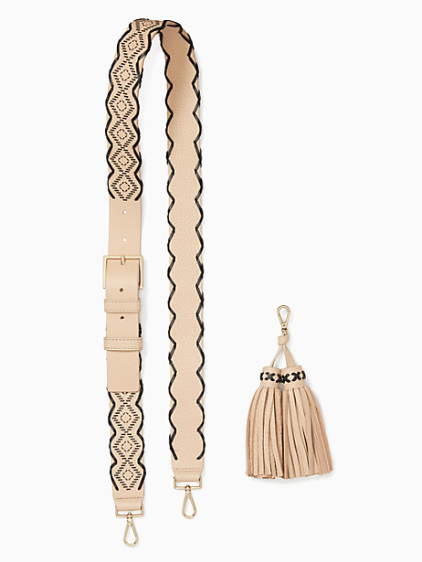Kate Spade Mix It Up Woven Strap/tassel Pack, Cashew