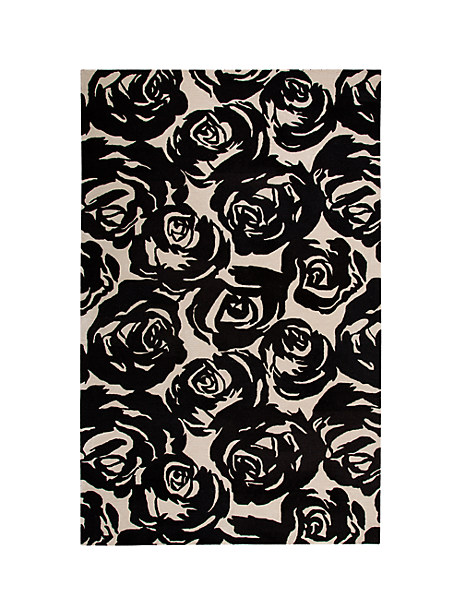 Kate Spade Contrast Rose Garden Rug, Black - Size 9'X12'