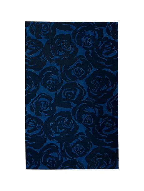 Kate Spade Contrast Rose Garden Rug, Navy - Size 8'X10'