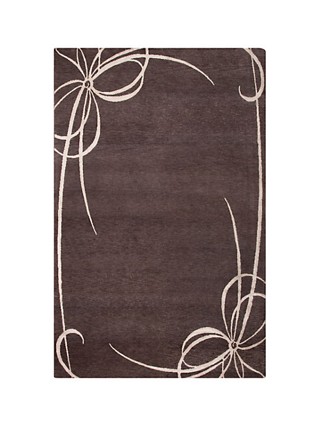 Kate Spade Bow Frame Rug, Grey - Size 5'X8'