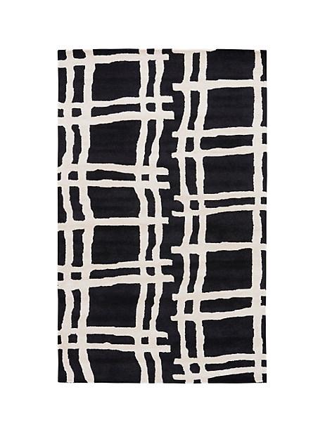 Kate Spade Broken Plaid Rug, Black - Size 4'X6'