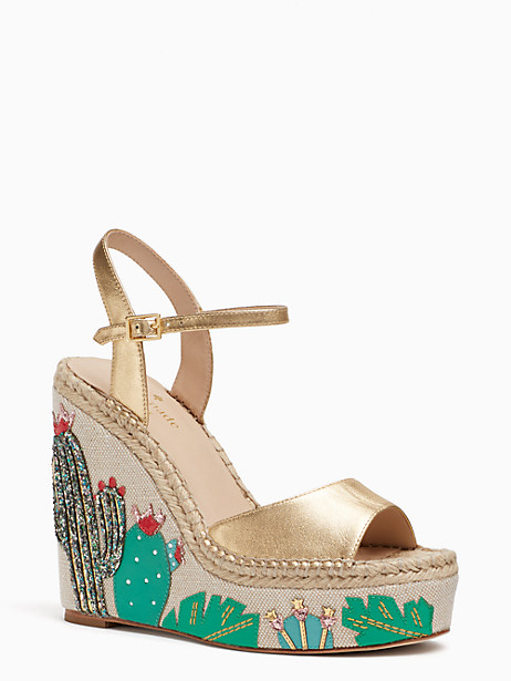 Kate Spade Dallas Wedges, Old Gold - Size 10