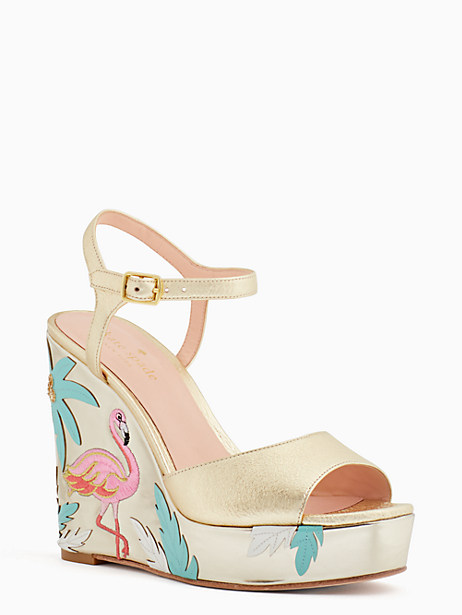 Kate Spade Darie Wedges, Gold - Size 10.5
