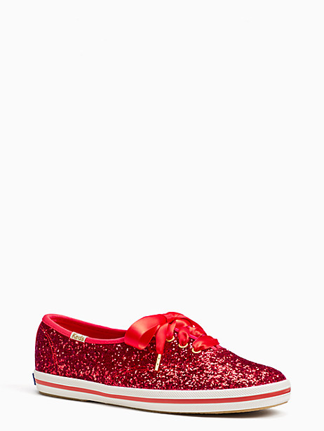 Keds For Kate Spade New York Glitter Sneakers, Cherry Pepper - Size 5