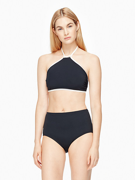 Kate Spade Plage Du Midi High Neck Bikini Top, Black - Size L