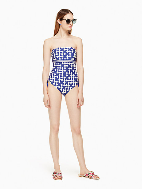 Kate Spade Moonstone Beach Bandeau One-piece Swimsuit, Cobalt - Size L