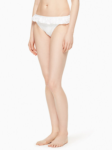 Kate Spade Half Moon Bay Ruffle Classic Bottom, White - Size L