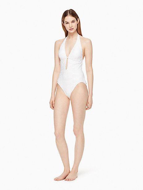 Kate Spade Half Moon Bay Plunge One-piece Swimsuit, White - Size L
