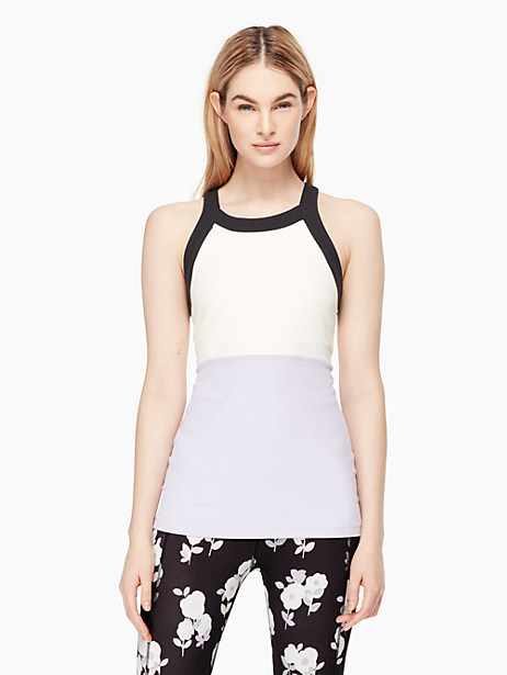 Kate Spade Blocked Band Racer Tank, Lilac Charm - Size L