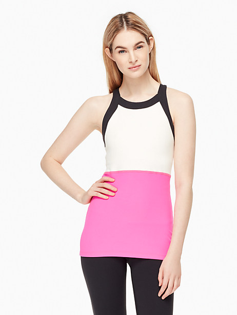 Kate Spade Blocked Band Racer Tank, Bougainvillea - Size L