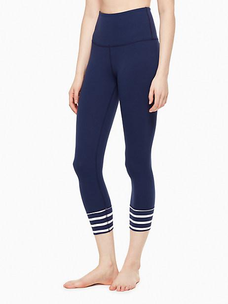 Kate Spade Stripe Cuff High Waisted Capri Legging, Navy/Sailing Stripe - Size L
