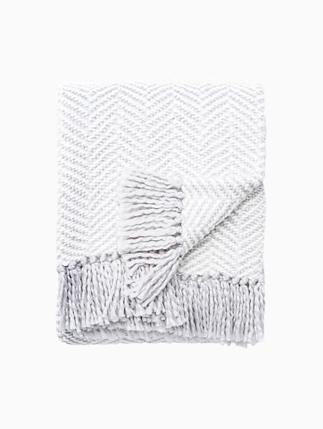 Kate Spade Seaport Herringbone Throw Blanket, Platnium/Light Cream