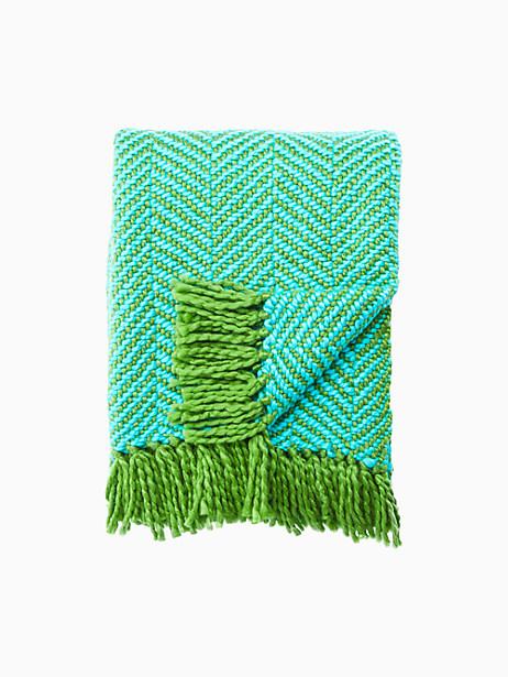 Kate Spade Seaport Herringbone Throw Blanket, Picnic Green/Blue