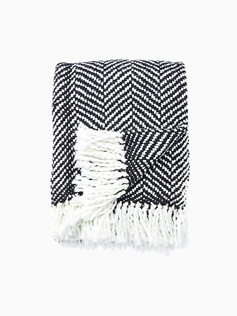 Kate Spade Seaport Herringbone Throw Blanket, Black/Light Cream