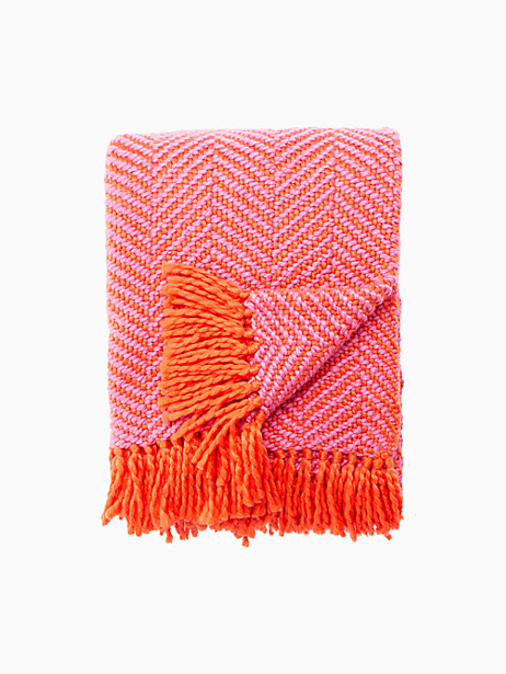 Kate Spade Seaport Herringbone Throw Blanket, Maraschino/Shocking Pink