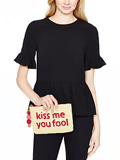 on purpose kiss me you fool clutch by kate spade new york