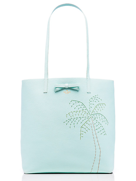 Kate Spade On Purpose Leather Palm Tree Tote, Island Waters