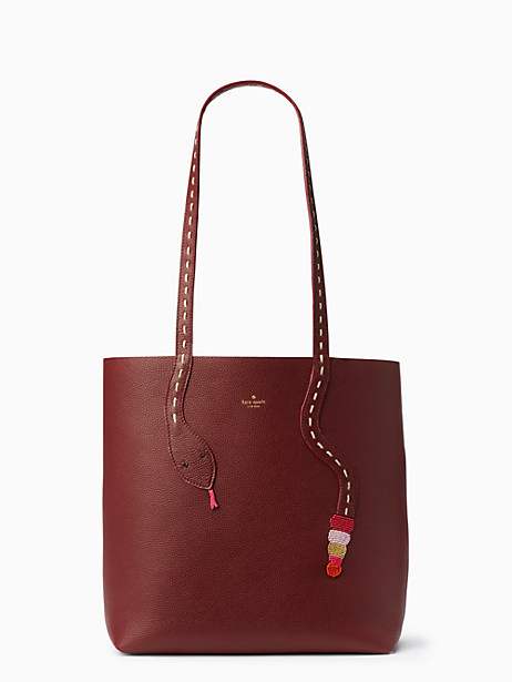 Kate Spade On Purpose Leather Snake Tote, Cherry Wood