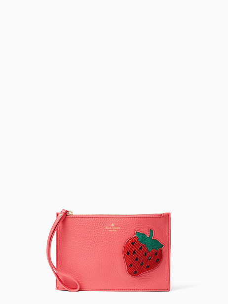 strawberry mini leather wristlet by kate spade new york