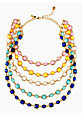 coated confetti bib necklace, multi