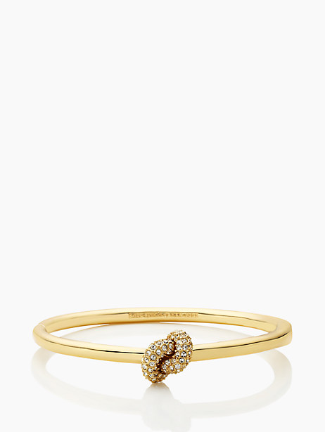 Kate Spade Sailor's Knot Pave Hinge Bangle, Clear/Gold