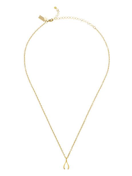 Kate Spade Dainty Sparklers Wishbone Pendant, Gold