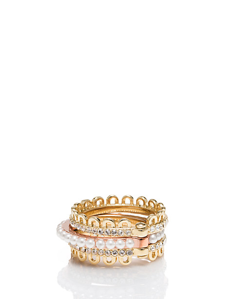 Kate Spade Chantilly Charm Hinged Stackable Ring Set, Metal - Size 7