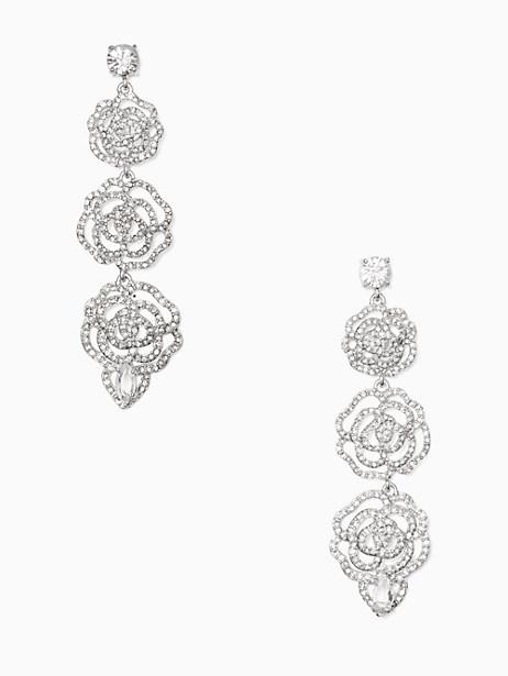 Kate Spade Crystal Rose Linear Earrings, Clear/Silver