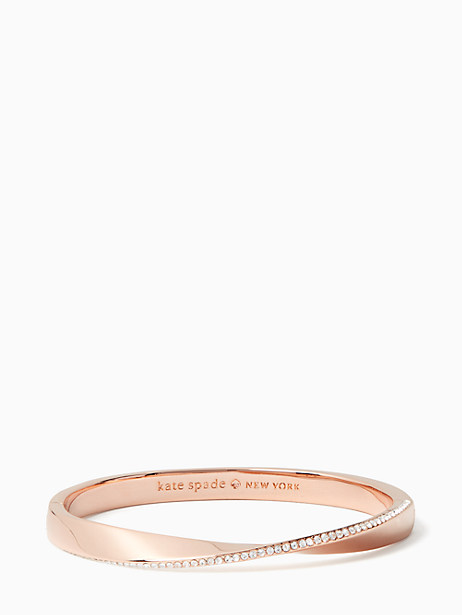 Kate Spade Do The Twist Pave Hinged Bangle, Clear/Rose Gold